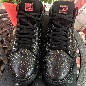 """💋MCM Ladies """"Carryover"""" Studded Leather Sneakers"""